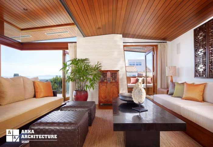 دکوراسیون داخلی با سقف چوبی